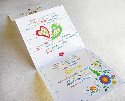 "wedding invitation inspired on traditional portuguese ""Lenço dos Namorados"" (the handkerchief that girls did to offer to their boyfriends)."