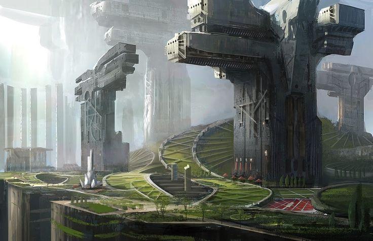 sci fi city, Jung Park on ArtStation at https://www.artstation.com/artwork/LEd2A