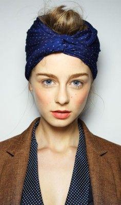 dotsHead Scarfs, Coral Lips, Polka Dots, Messy Hair, Head Wraps, Headscarf, Turban, Nature Makeup, Karen Walker