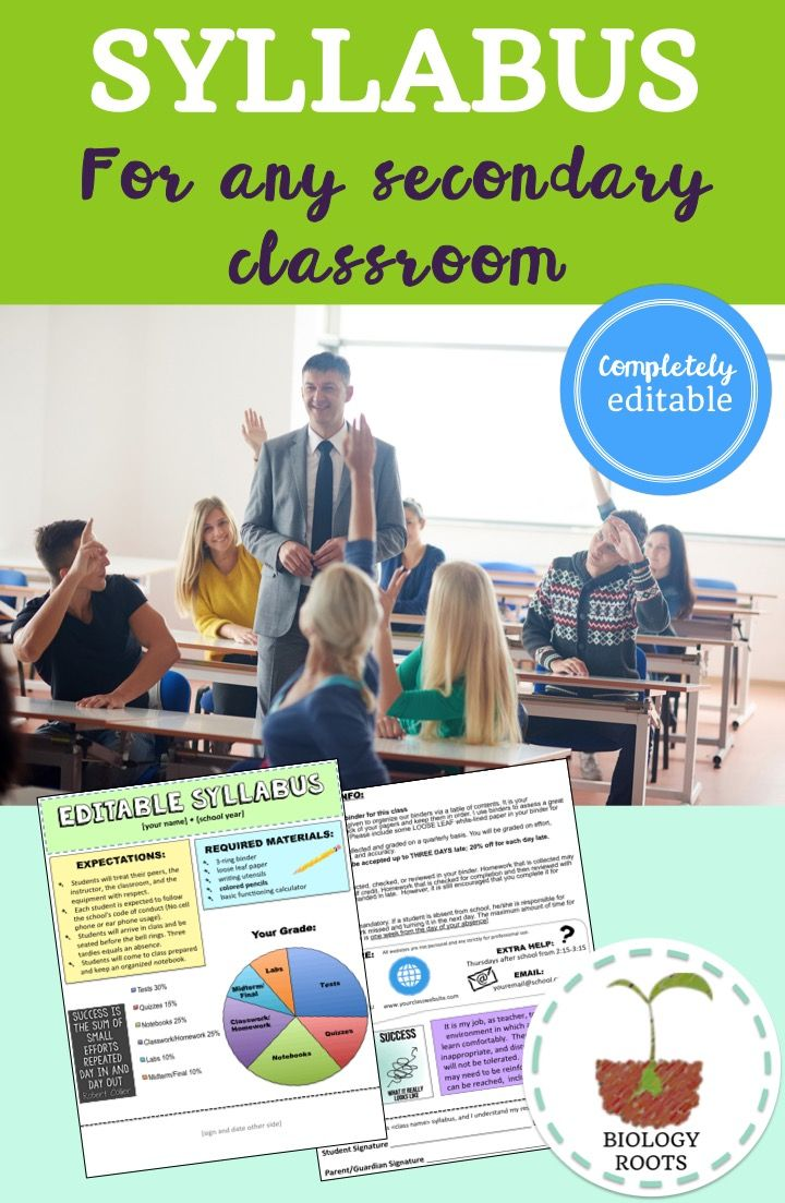 Editable syllabus Middle school or high school syllabus, trendy, visual, short and sweet- two pages.