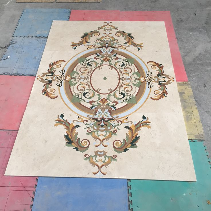 Large segments of this marble floor are precisely fit