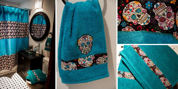 Sugar Skull Shower Curtain With Matching Towels