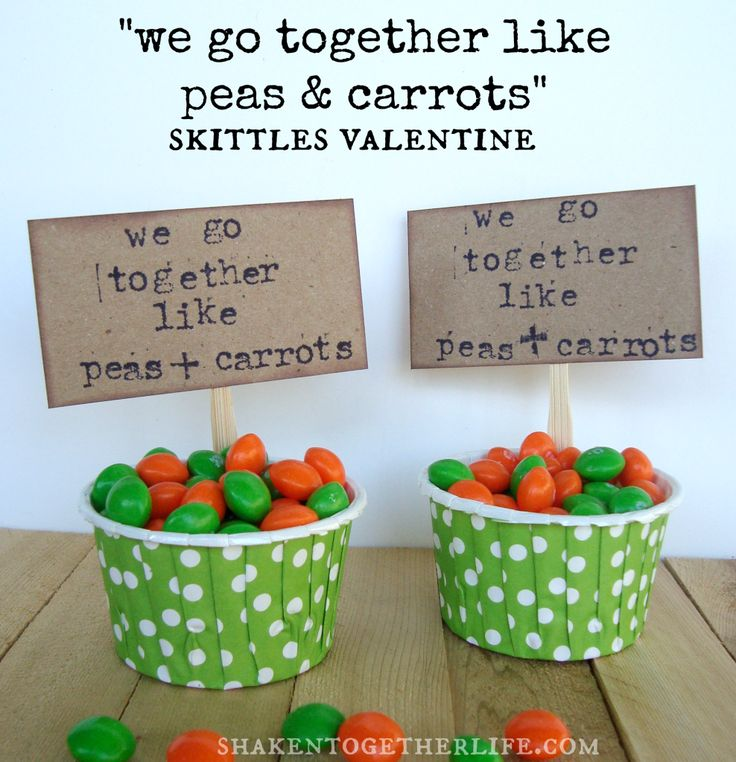 We Go Together Like Peas & Carrots ~ Skittles Valentine Fill a polka dotted cup with green & orange candy and add a stamped sign for this easy We Go Together Like Peas & Carrots Skittles Valentine!
