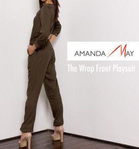 Amanda May Wrap Front Playsuit – Military Green