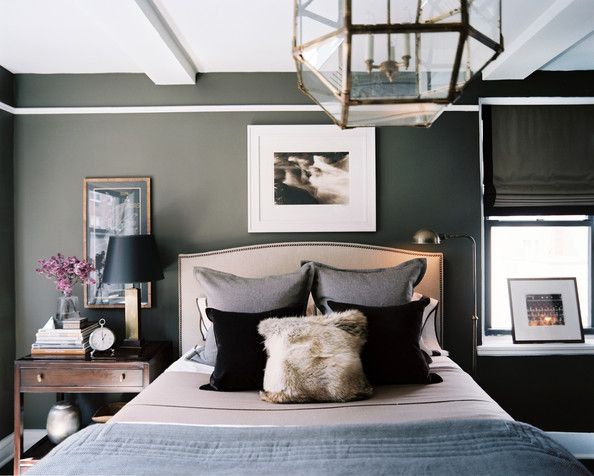 Bedroom Photo - A masculine bedroom with gray walls. Good balance with only one window. Kind of like our situation