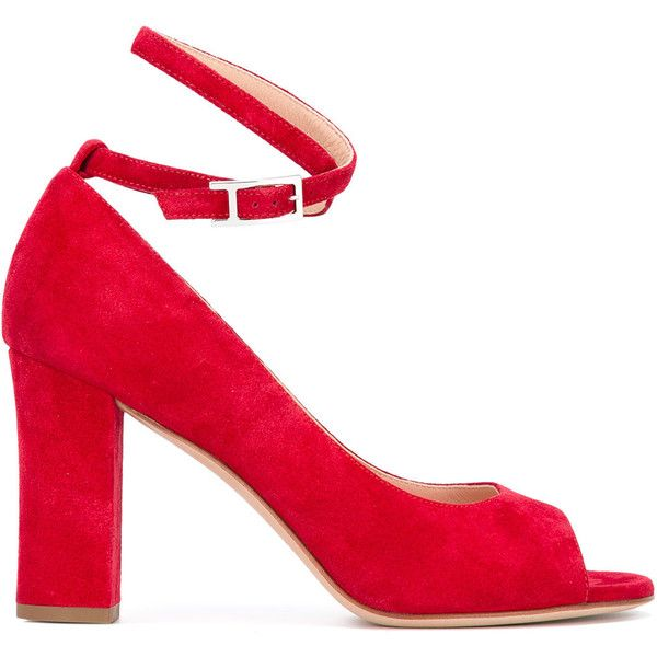 Unützer peep toe pumps (127.575 HUF) via Polyvore featuring shoes, pumps, red, red leather shoes, red peep toe shoes, peep-toe shoes, red peep toe pumps and leather shoes