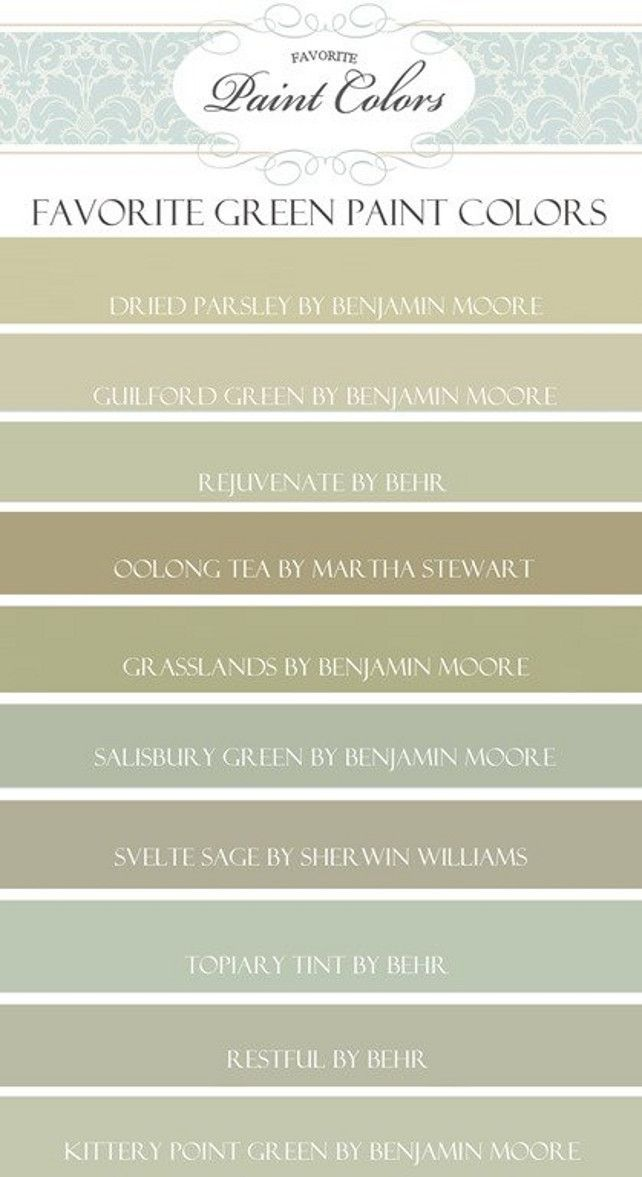 Green Paint Color Ideas. Benjamin Moore Dried Parsley. Benjamin Moore Guilford Green. Behr Rejuvenate. Martha Stewart Oolong Tea. Martha Stewart Grasslands. Benjamin Moore Salisbury Green. Sherwin Williams Svelte Sage. Behr Topiary Tint. Behr Restful. Benjamin Moore Kittery Point Green. #GreenPaintColor: