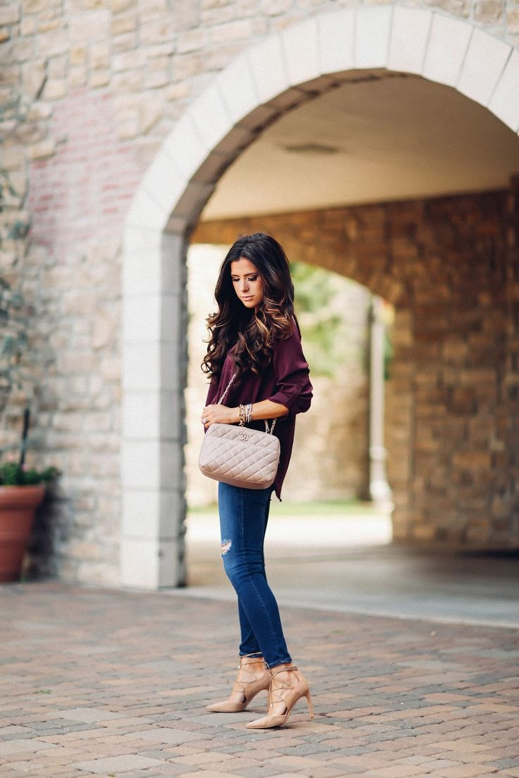 emily gemma, the sweetest thing blog, AG jeans skinny ankle review, Lush top nordstrom, pinterest fall outfit idea, pinterest fall fashion, pinterest outfit ideas for fall, pinterest date night outfits, chanel bowling bag in beige, H audrey gold necklace by clrrrk, bauble bar monogram, sam edelman lace up heels, tulsa fashion blog, gold michele serein watch, dallas fashion blog, cute jeans and heels outfits, brunette balayage, balayage for fall, medium hair styles balayage with curls, david…