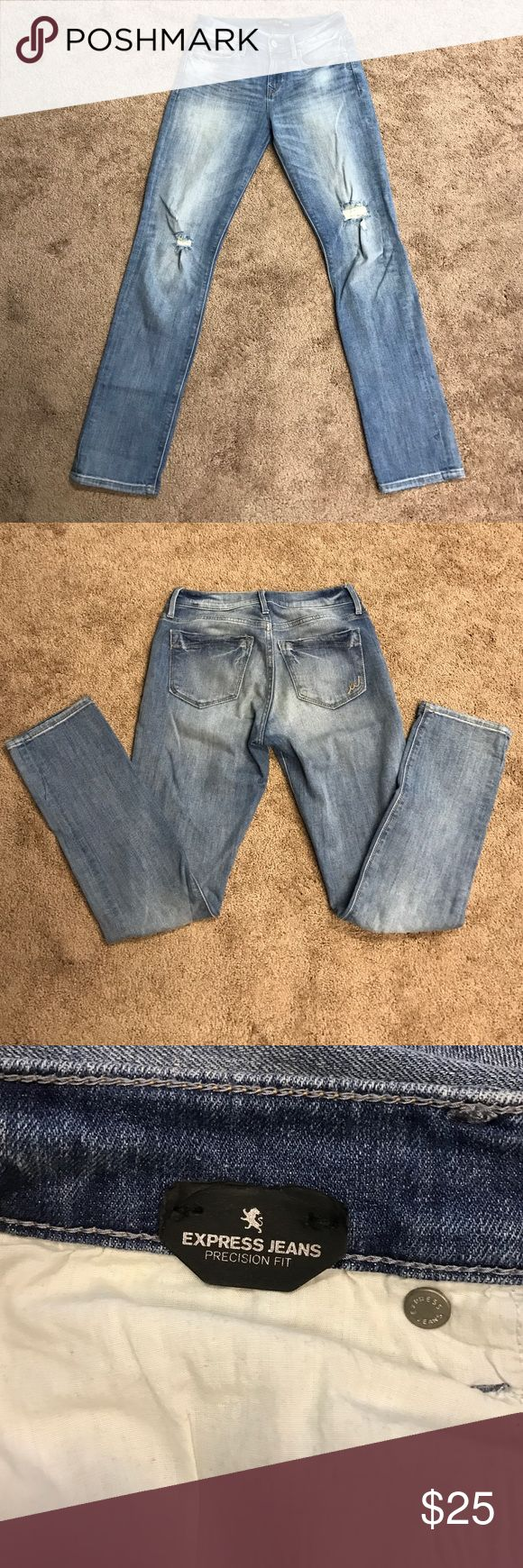 Express jeans Brand new without tags. Store made holes around the knees, but no where else. In excellent condition! Precision fit, cropped skinny, midrise. Express Pants