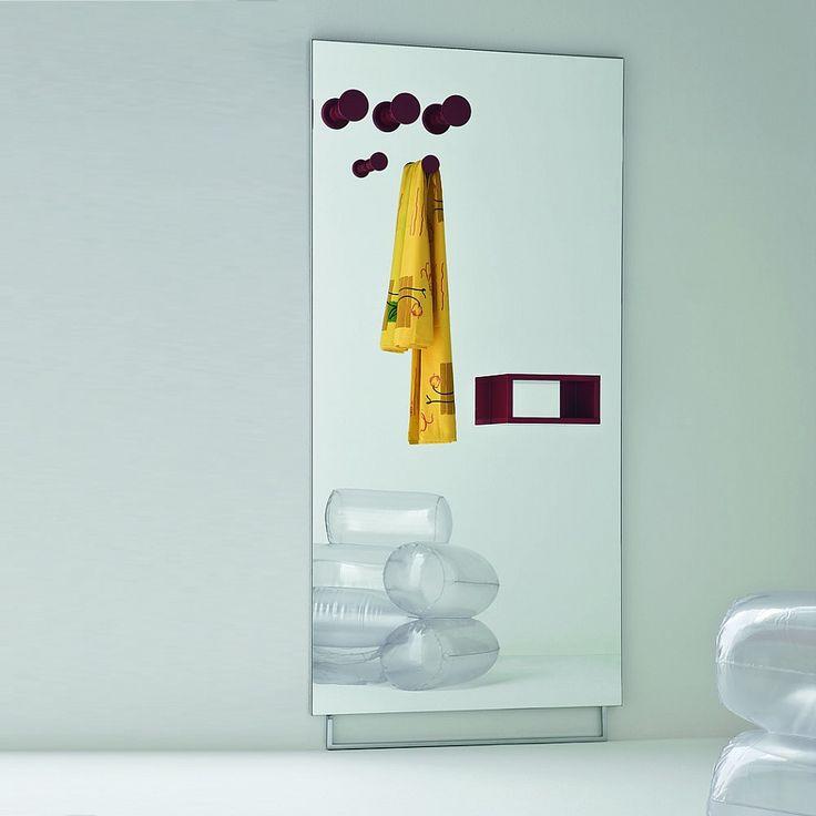 Minimalist large mirror with hooks for hallway Mini by Birex