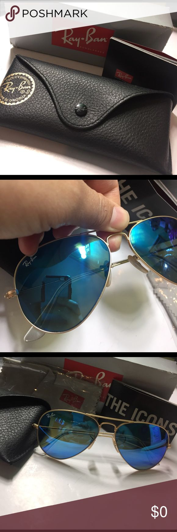 Ray Ban Mirrored Aviators Glasses have a small scratch as seen in pic 1., near to the nose bridge. They come with the pouch, box, booklet, and the cleaning cloth. Made in Italy. 100% uva/uvb protection. Ray-Ban Accessories Sunglasses