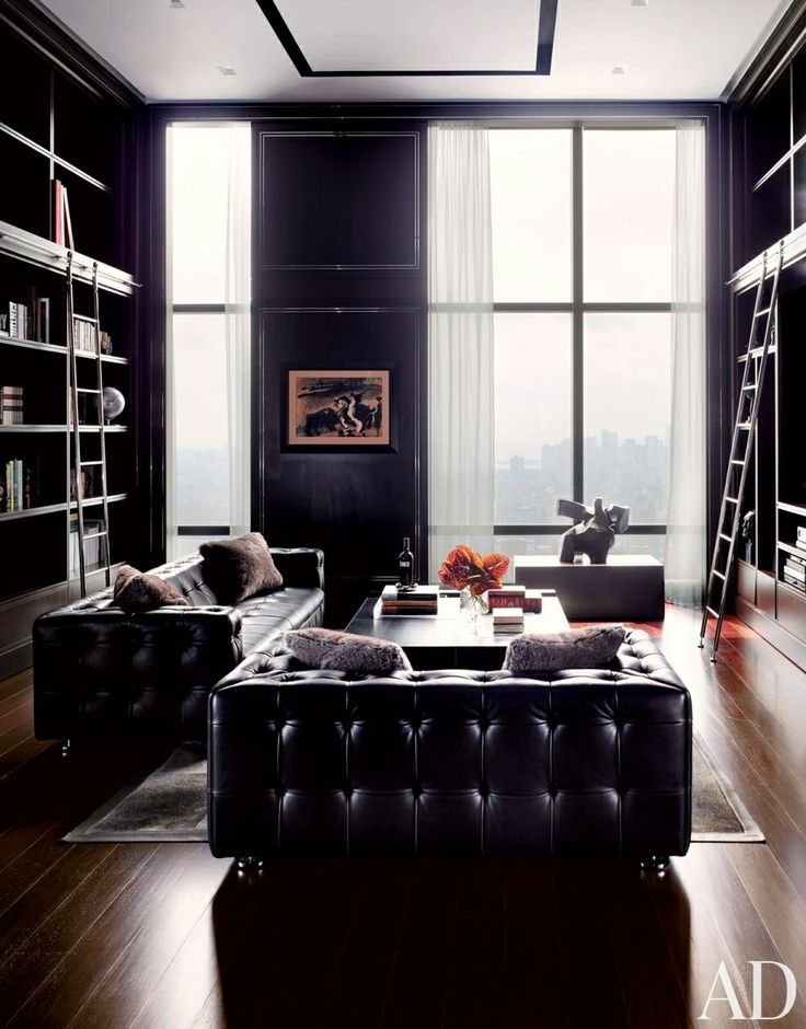 Beautiful black library / Architectural Digest