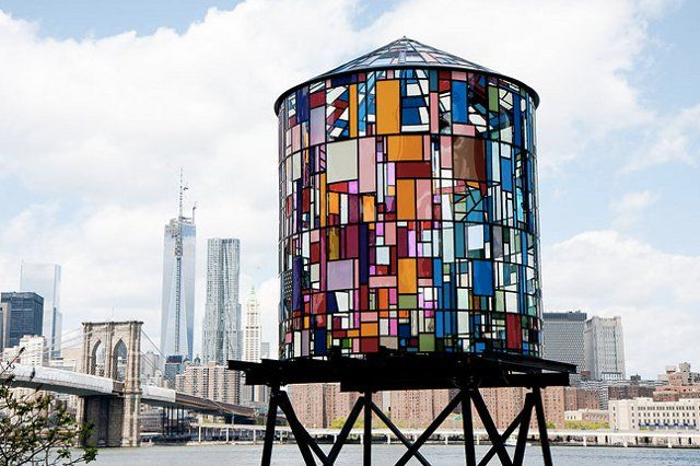 Water Tower in Brooklyn by Tom Fruin #viqua: Water Towers, Tom Fruin, Brooklyn Bridge, Artists Tom, Brooklyn Bas Artists, Architecture, Watertower Ii, Brooklynba Artists, Stained Glasses