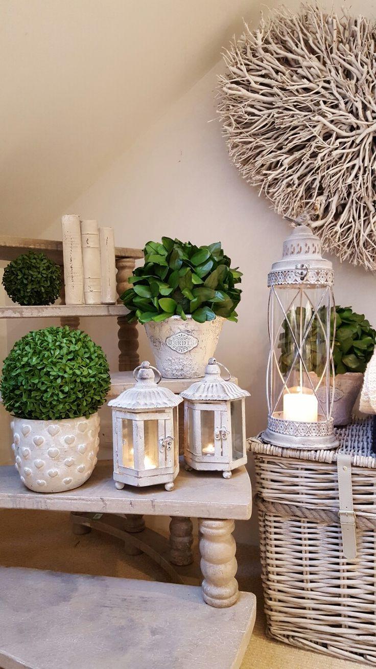 Lantern love....grey wash metal lanterns...don't forget the topiary....