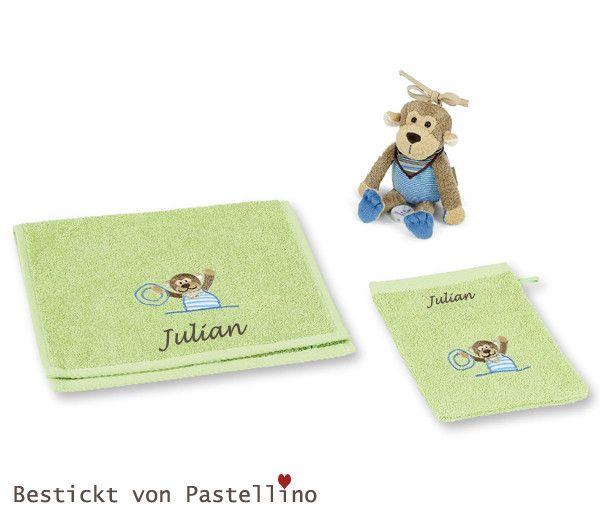 Baby+Geschenkset+Affe+zur+Geburt+mit+Namen++von+Pastellino+Schönes+zum+Liebhaben+auf+DaWanda.com