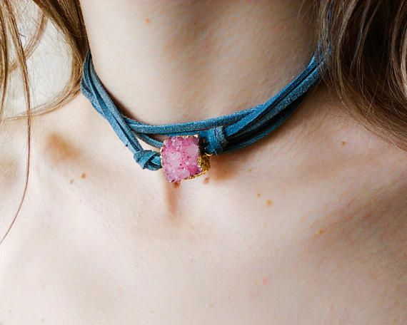 Leather wrap choker necklace, druzy agate bead necklace or bracelet, blush pink crystal stone jewelry , sweet 16 gift, 21st birthday present
