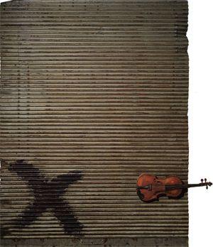 Porta metàl·lica i violí, 1956 Puerta metálica y violín Pintura sobre objeto-assemblage  200 x 150 x 13 cm