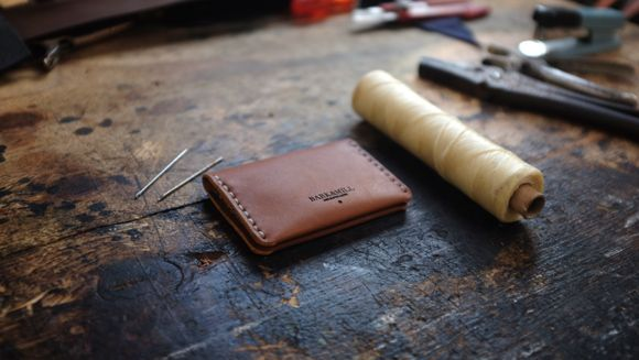 Leather bi fold card holder card holder by Bark and Mill.
