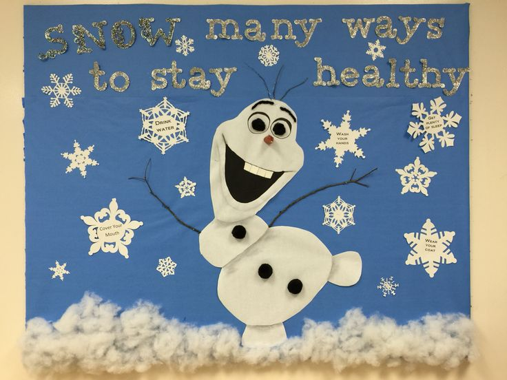Bulletin board for the winter. Olaf from frozen designed by my coworker and I for the nurses office