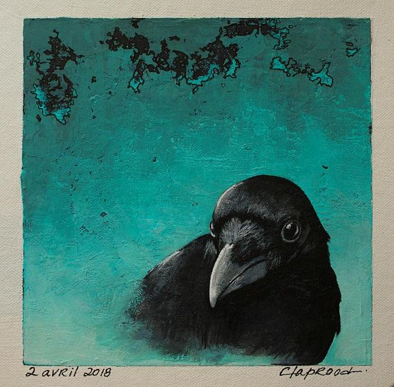 Black bird painting, crow picture, raven portrait, small black and turquoise art, original 6x6 acrylic painting within an 11x14 inches mount
