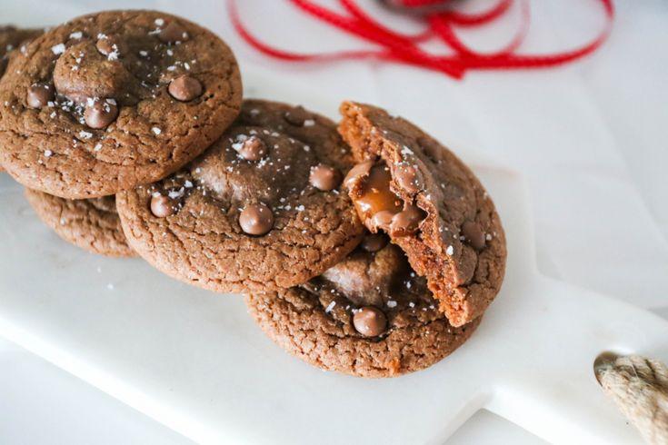 Salty chocolate & caramel cookies