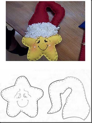 Estrella de navidad en fieltro con moldes