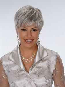 An excellent cut for women with oblong faces. This client has gray hair similar to that shown in the photo.
