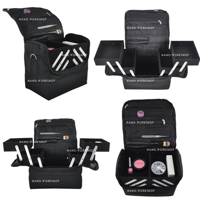 Extendable 4 Compartments Make-up Outdoor Beautician Nail Soft Case #340