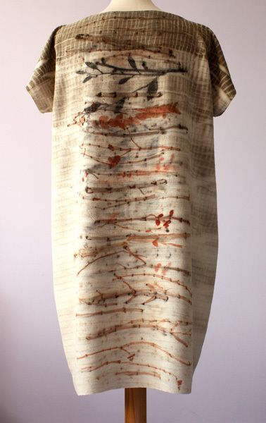 silk tunic dress printed with plants