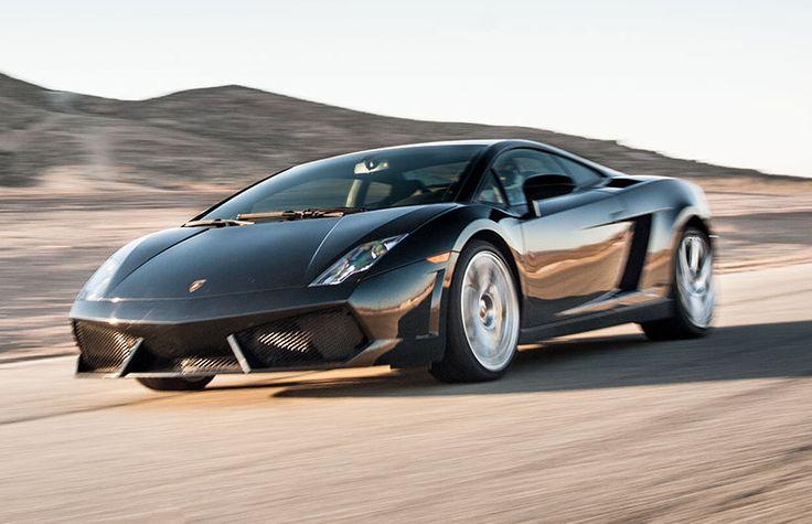 Lamborghini LP560-4 hitting the straight away at Willow Springs, in CA.