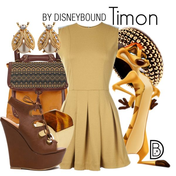 Timon by leslieakay on Polyvore featuring polyvore, fashion, style, TheP., The Sak, BCBGMAXAZRIA, Kenneth Jay Lane, disney, disneybound and disneycharacter