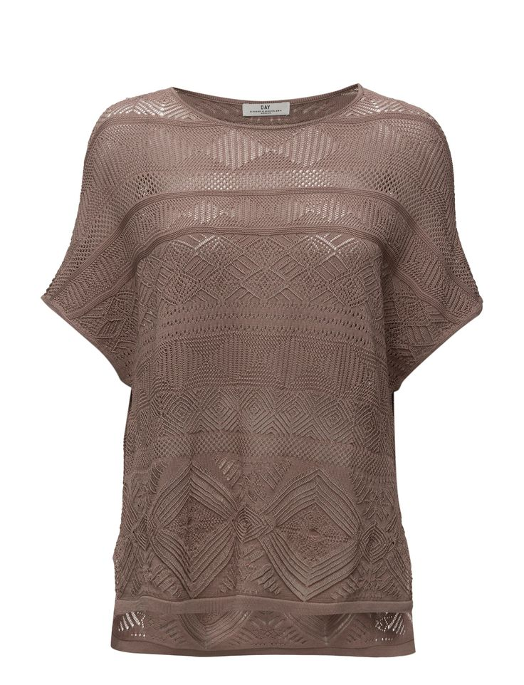 DAY - Day Yukiko-Lovely knitted T-shirt in a romantic design. This t-shirt has many fine details and works great with tailored trousers and flats.  Intricate knit design Loose fit Semi-sheer Elegant and feminine