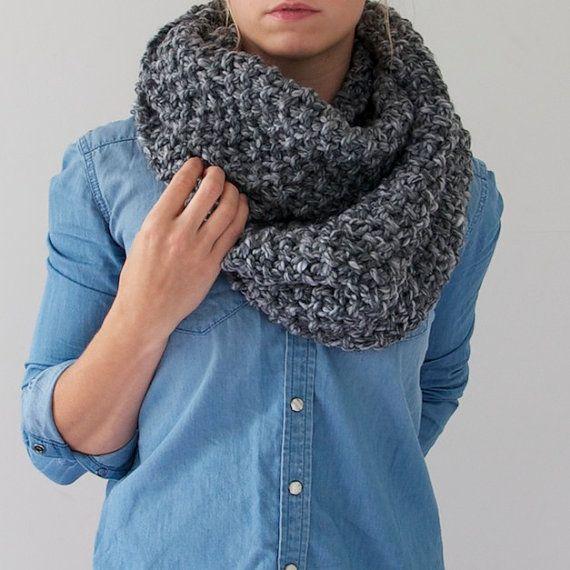 Chunky Knit Infinity Scarf in Heathered Grey by AnahareoSeasonal