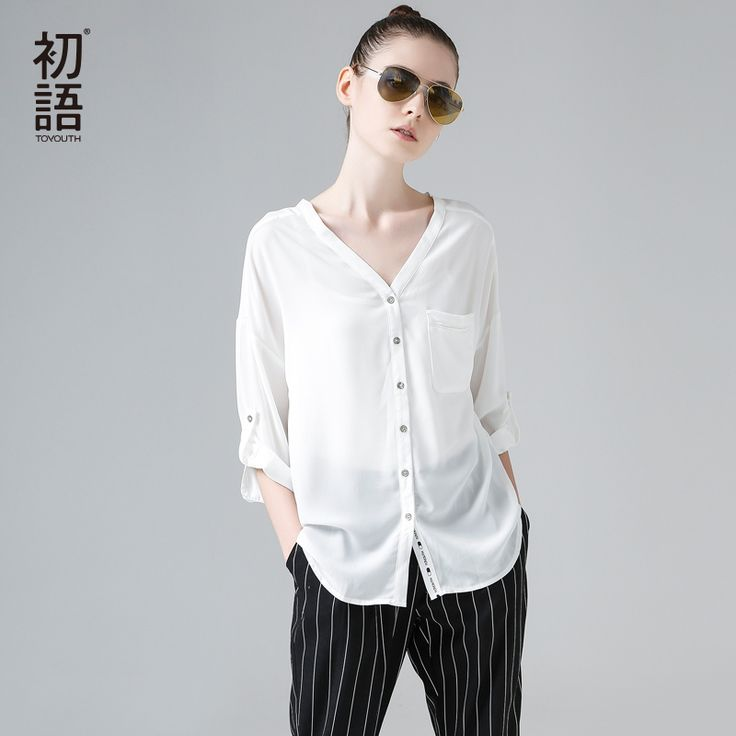 Toyouth 2017 New Arrival Women Summer Blouse Casual V-Neck Solid  Blouse Female Chiffon Sunscreen Three Quarter Sleeve Blouses