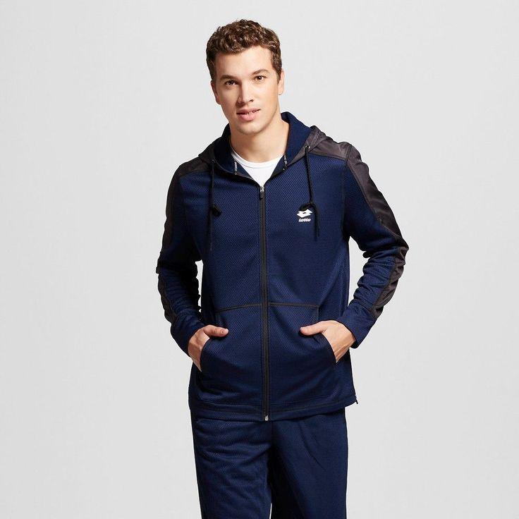 Lotto Men's Textured Fleece Jacket Charcoal S, Size: Xxl, Blue