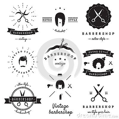 Grupo do vetor do vintage do logotipo do barbeiro (cabeleireiro) Moderno e…