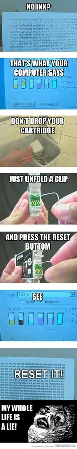 Ink Cartridge Trick - Hmmz...I'll hafta try this the next time my ink cartridge runs out! ;)