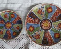 Two Small Vintage Oriental Imari Plates Made in Japan