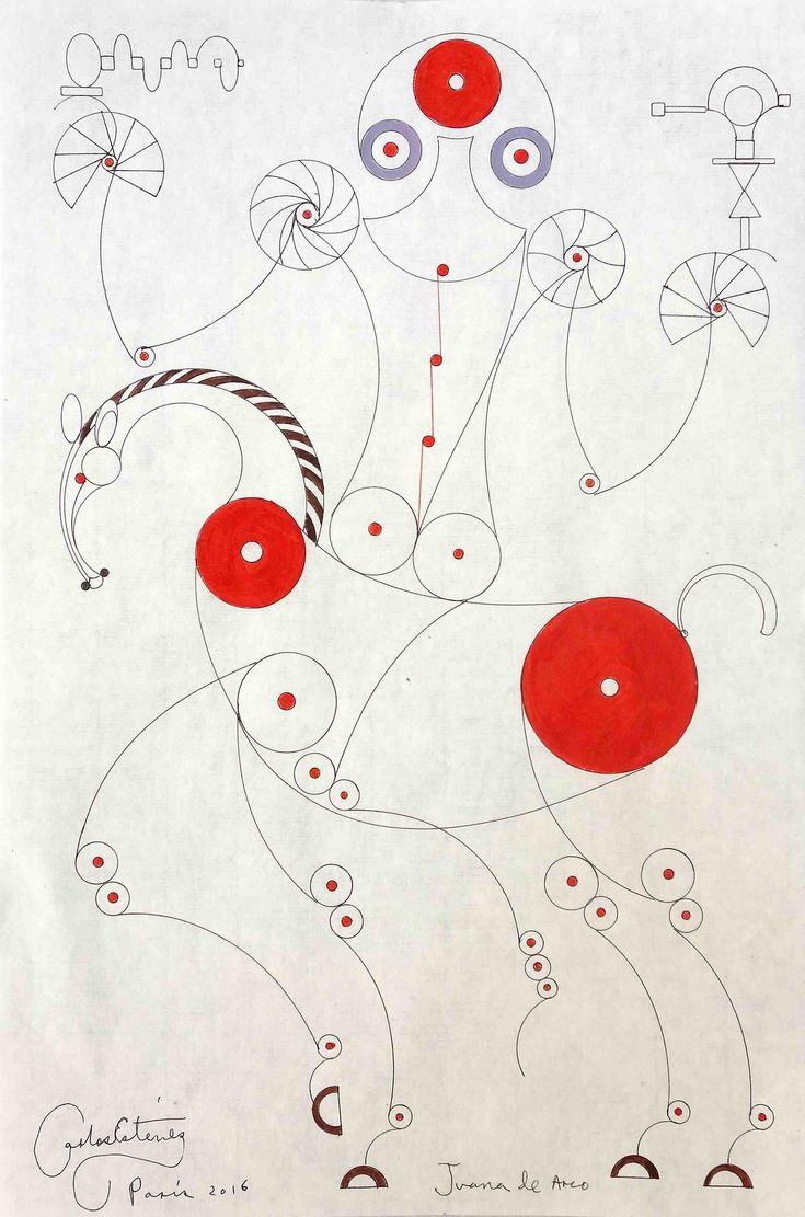 "theegoist: ""Carlos Estevez (Cuban, b. 1969) - Juana de Arco, ink drawing on paper, 13 ¾"" x 9 ¼"" (2016) """