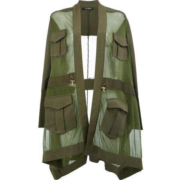 Balmain oversized sheer knit (£2,630) ❤ liked on Polyvore featuring outerwear, jackets, coats, tops, balmain, green, green jacket, long sleeve jacket, open front jacket and knit jacket