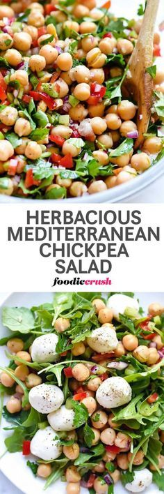 Chickpea Salad Recipe   Garbanzo Bean Salad Recipe   Mediterranean Salad Recipe   Mediterranean Diet Recipe   This easy Mediterranean garbanzo bean salad is infused with flavor thanks to a heaping helping of fresh herbs with a garlicky lemon dressing that ups the crunch from red bell pepper, celery and red onion for a simple side dish or topping for greens.   foodiecrush.com