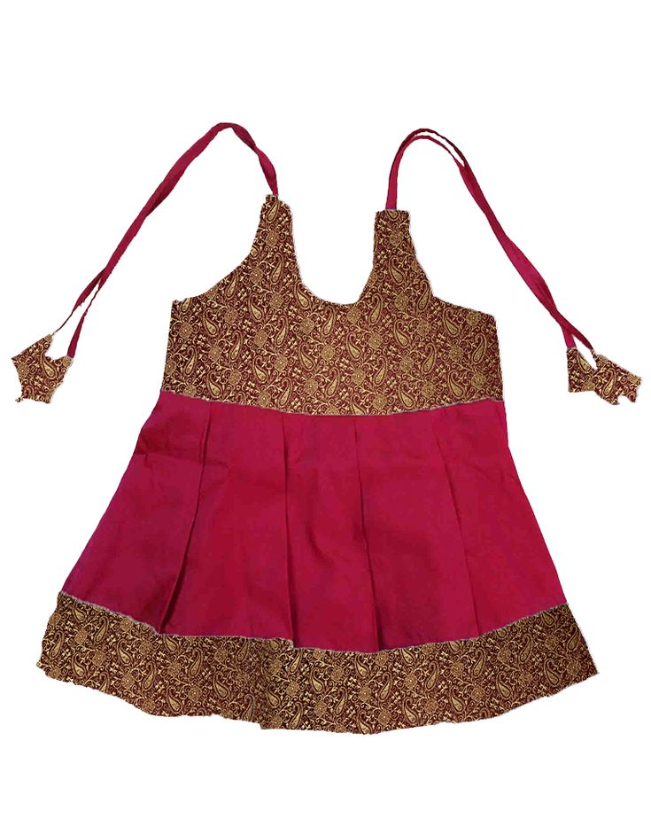 #kidsfrocks #kidspattufrocks Pink with Brown Pattu Frocks only at www.bujuma.com