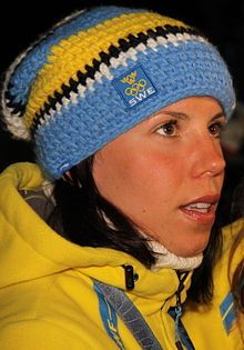 Charlotte Kalla is a Swedish cross-country skier who has been competing since 2004. Kalla won the gold medal in the women's 10 km individual for Sweden at the 2010 Winter Olympics in Vancouver, Canada, with a time of 24:58.4. She also won a silver in the team sprint event with Anna Haag at those same games.