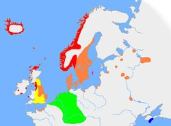 The approximate extent of Old Norse and related languages in the early 10th century: red, Old West Norse dialect; orange, Old East Norse dialect; purple, Old Gutnish; yellow, Old English; blue, Crimean Gothic;  green, Other Germanic languages with which Old Norse still retained some mutual intelligibility