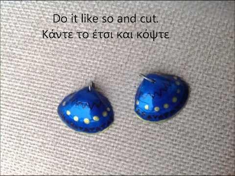 Tribal  geometric shell earrings tutorial, χειροποίητα σκουλαρίκια από κοχύλια