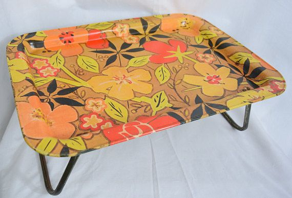 VTG Floral Metal Serving TV Tray 1968 Mod Home Decor Tropical Retro Dining Accessory Fall Colors Breakfast in Bed MarshAllan Mfg Company
