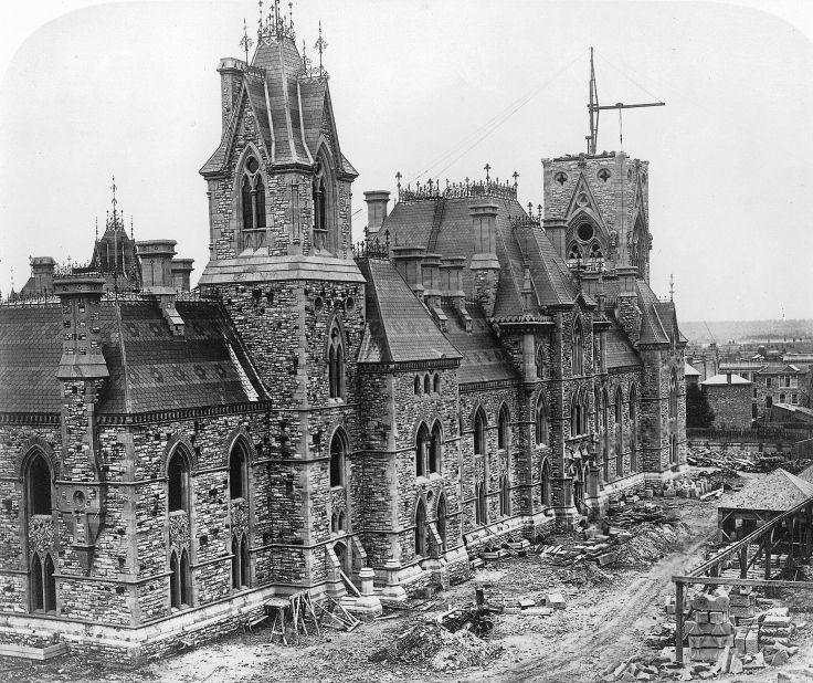 Parliament buildings under construction. Ottawa, Canada, 1865.
