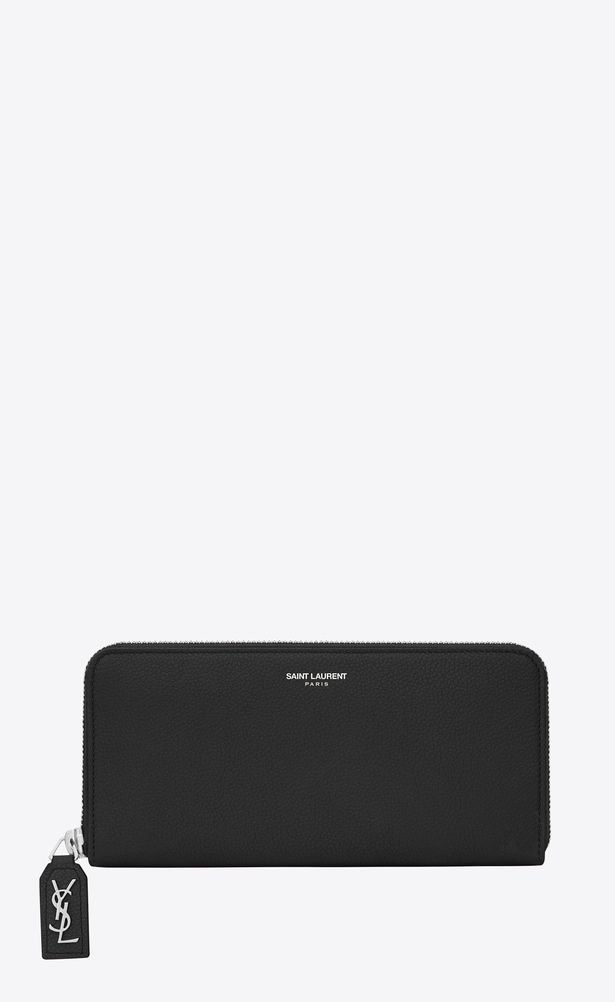 523955d51f1 SAINT LAURENT Rive gauche SLG Woman rive gauche zip around wallet with d  pull in black grained leather a_V4