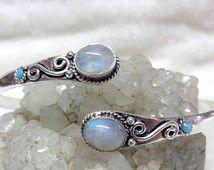 Moonstone armlet, Arm cuff, upper arm cuff, armlet bracelet, german silver arm cuff,, silver coated arm cuff, gift arm cuff