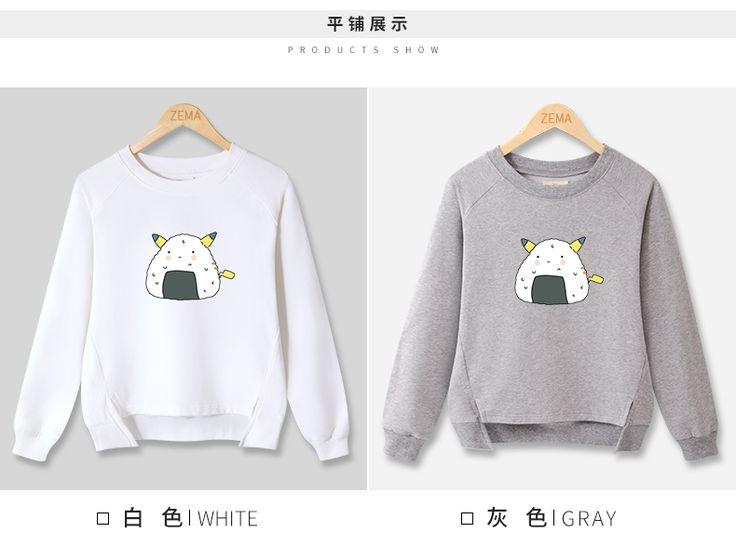 套头卫衣女韩版学生下摆开叉上衣前短后长学院风外套女春秋款卫衣-tmall.com天猫 Pikachu onigiri sweater shirt
